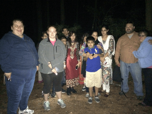 Guests on the Pocomoke Ghost Walk - at the deepest part of the forest