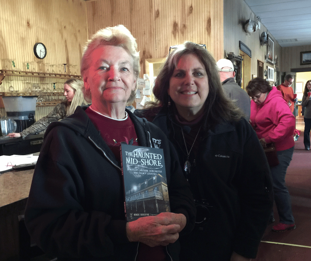 Mary from Old Salty's with Author, Mindie Burgoyne