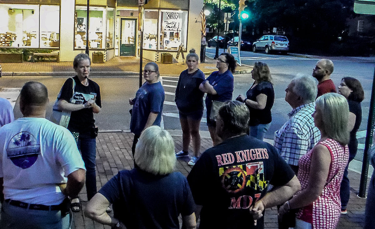 Storyteller, Missy Corley leads the Ghost Tour in Easton, Maryland